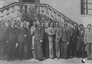 Cadix - Polish-French-Spanish Cadix center.  From left:  1. Henri Braquenié.  2. Piotr Smoleński.  3. Edward Fokczyński.  5. Maksymilian Ciężki.  7. Gwido Langer.  8. Mary Bertrand, wife of: 9. Gustave Bertrand.  13. Henryk Zygalski (in back, wearing glasses).  14. Jan Graliński.  18. Jerzy Różycki.  20. Marian Rejewski.