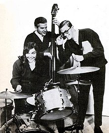 Black and white photograph of the Richard Carpenter Trio in 1967 - left to right; Karen Carpenter, Wes Jacobs, Richard Carpenter