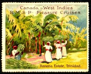 Royal Mail Steam Packet Company - A poster stamp issued by the Royal Mail Steam Packet Company to promote their service from Canada to the British West Indies.