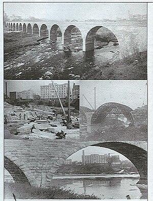 Stone Arch Bridge (Minneapolis) - Image: Stone Arch Bridge under construction