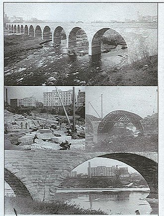 Stone Arch Bridge (Minneapolis) - Image: Stone Arch Bridge under construction
