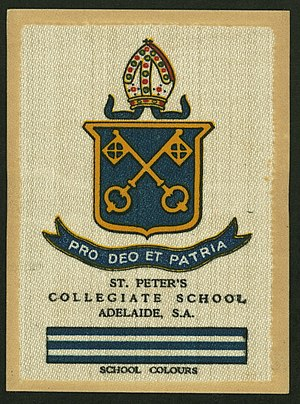 St Peter's College, Adelaide - Collectable Australian School cigarette card featuring the old St Peter's College colours and crest, c. 1920s