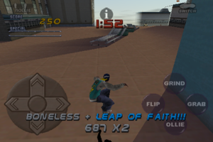 Tony Hawk's Pro Skater 2 - An in-game screenshot of Pro Skater 2 on the iPod Touch.