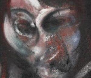 Three Studies for a Portrait of Henrietta Moraes - Detail of the center panel