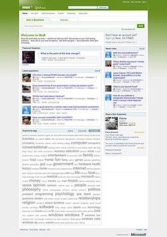 MSN QnA - A screenshot of Live Search QnA homepage