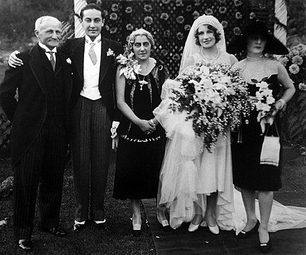 Thalberg's wedding in 1927 to Norma Shearer, with his parents and her mother shown. Thalberg wedding.jpg