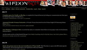 Whedonesque.com - Image: Whedonesque screenshot