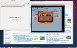 Emulator - Tetris running on the Wzonka-Lad GameBoy emulator on AmigaOS, itself running on E-UAE on a modern Fedora Linux system.
