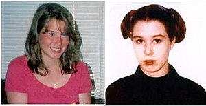 Murder of Amber Creek - Creek in February 1996 (left) compared to an undated photograph changing her image after suffering from depression.