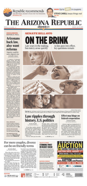 The Arizona Republic - An example of a cover from The Arizona Republic in 2010.