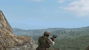 ARMA: Armed Assault - An in-game screenshot demonstrating the high draw distance, making long range engagements up to 10 kilometres possible.
