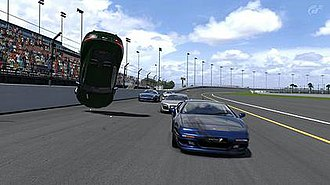 Gran Turismo 5 - An example of both damage rendering and overturning, features new to Gran Turismo.
