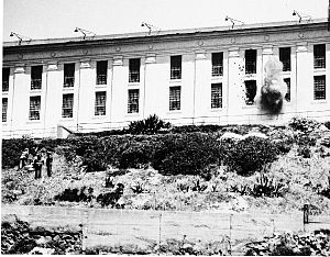 Battle of Alcatraz - Alcatraz cellhouse shelled by mortars, May 3, 1946