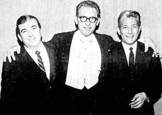 Robert Bernstein (comics) - Robert Bernstein (left) in 1965 with pianist Géza Anda (center) and Jerry Schoenbaum, head of MGM's classical music division.