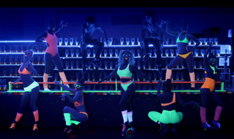 "Blow (Beyoncé song) - A still from the music video for ""Blow"" in which Beyoncé is seen dancing a choreography with female dancers. Their style has been noted for referencing 1970s and 80s videos."
