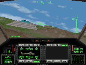Comanche (video game series) - Comanche Maximum Overkill. You can see the two MPDs (Multipurpose Displays) on the sides and the two MFDs (Multifunction Displays) in the middle. The cockpit contains no analog flight instruments at all (1992)