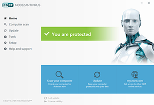 ESET NOD32 Antivirus 10 running on Windows