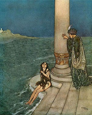 "Edmund Dulac - Dulac illustration for Hans Christian Andersen's ""The Little Mermaid"""