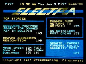 Teletext - Screenshot of an Electra teletext page.