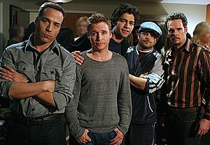 "Entourage (U.S. TV series) - The main characters of Entourage. From left to right: Ari Gold (Jeremy Piven), Eric ""E"" Murphy (Kevin Connolly), Vincent ""Vince"" Chase (Adrian Grenier), Turtle (Jerry Ferrara) and Johnny ""Drama"" Chase (Kevin Dillon)."