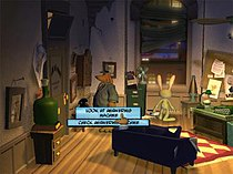 An anthropomorphic dog in a blue suit and fedora inspects an answering machine in a dilapidated office while an anthropomorphic rabbit looks out the window at the night-time street. A menu with a cursor is present, giving the options to either examine the answering machine or check it for messages.