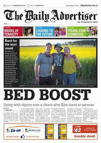 The Daily Advertiser (Wagga Wagga) - Image: Front Page Image Daily Advertiser