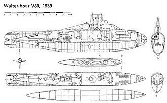 German submarine V-80 - Image: German v 80 midget submarine 2