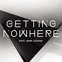 A black triangle and brown background.  The performer and single is 'GETTING NOWHERE FEAT. JOHN LEGEND'