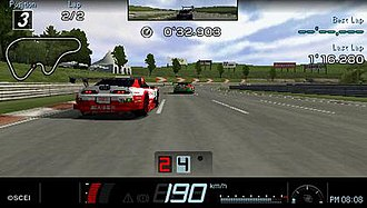 Gran Turismo (PSP) - Toyota Supras from the JGTC racing league compete on High Speed Ring.