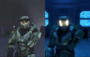 Remaster -  A comparison of Halo: Combat Evolved (left) and Halo: Combat Evolved Anniversary (right) with redrawn graphics. Anniversary features both the old and new visuals in-game with a graphics swapping feature.