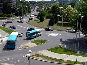 Magic Roundabout (Hemel Hempstead) - Magic Roundabout, looking south with mini roundabouts 1 (nearest), 2 and 3 in view. The grassy bank at the centre of the picture is part of the central hub roundabout. Taken from part of the 'Riverside' development