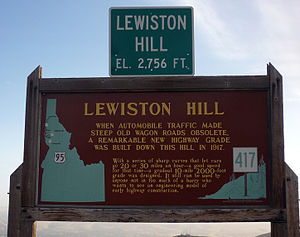 Lewiston, Idaho - Sign at top of Lewiston Hill.