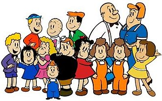 Little Lulu - The characters in Little Lulu in the 1980s comics. First row: Wilbur, Annie, Gloria, Alvin, Tubby, Little Lulu, Jeannie, Joannie and Marge; second row: Eddie, Iggie, Willie, George and Martha.
