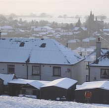 Snow-covered rooftops in Lockerbie, Scotland
