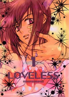 A book cover. A boy with cat ears looks surprised as a ringed hand touches the bandage on his face; black stars cover the background. Near the center of the cover is text reading Loveless.