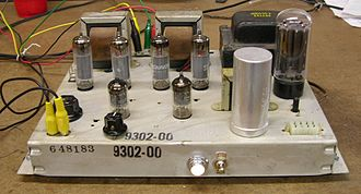 Push–pull output - A Magnavox stereo tube push–pull amplifier, circa 1960, utilizes two 6BQ5 output tubes per channel