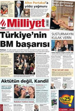 Milliyet - Image: Milliyet Front Page
