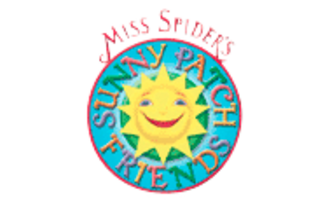 """Miss Spider's Sunny Patch Friends - A logo for the series. There is another version of this logo where the Sun is replaced by Miss Spider herself and the """"Sunny Patch Friends"""" text is plain red."""