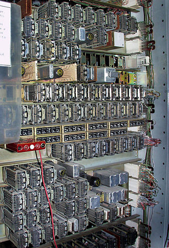 Number Five Crossbar Switching System - Originating Register, with reed relay reader by which a switchman can see what phone number is stored
