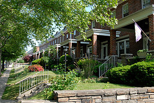 Belair-Edison, Baltimore - Rowhouses on Parkside Drive