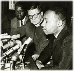 James Pike - Pike with Martin Luther King Jr. at a press conference after the march to Selma, Alabama