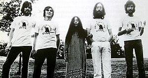 Plastic Ono Band - Plastic Ono Band, 1969.  L-R: Klaus Voormann, Alan White, Yoko Ono, John Lennon, and Eric Clapton.