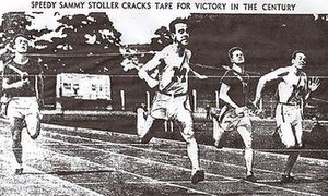 "Sam Stoller - ""Speedy Sammy Stoller cracks tape"" at dual meet against Cal, April 1937"