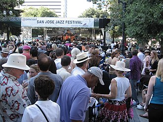 San Jose Jazz Festival - Wide angle shot of the main stage during the Neville Brothers' performance