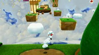 Super Mario Galaxy 2 - Cloud Mario is one of the new power-ups in the game. Mario is using the power-up, creating temporary platforms in midair to get to out-of-reach places.