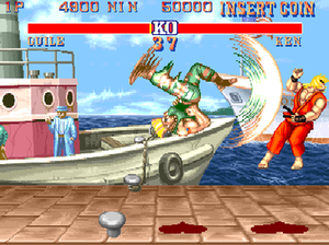 Street Fighter II: The World Warrior - Guile defeats Ken after using his Flash Kick (arcade version shown)