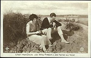 Tri-Ergon - Advertising postcard for The Farmer from Texas with Lillian Hall-Davis and Willy Fritsch
