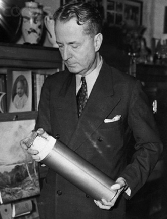 Thornwell Jacobs - Dr. Thornwell Jacobs, president of Oglethorpe University, shown sealing the last cylinder to be placed in the Crypt of Civilization.