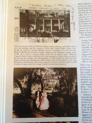 Twelve Oaks - Picture of the Atlantic Journal article of the home representing The Twelve Oaks that Maragaret Mitchell found