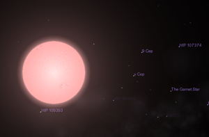 VV Cephei - VV Cep A as it appears on Celestia, with Mu Cephei (The Garnet Star) also visible in the picture